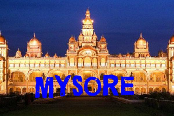 Mysore Palace under lights at Night