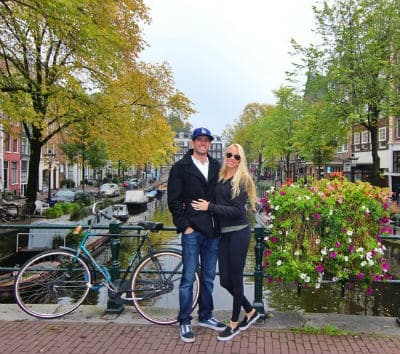 Romantic couples in Amsterdam for holiday