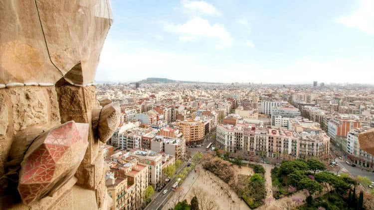 View of Barcelona from Nativity facade