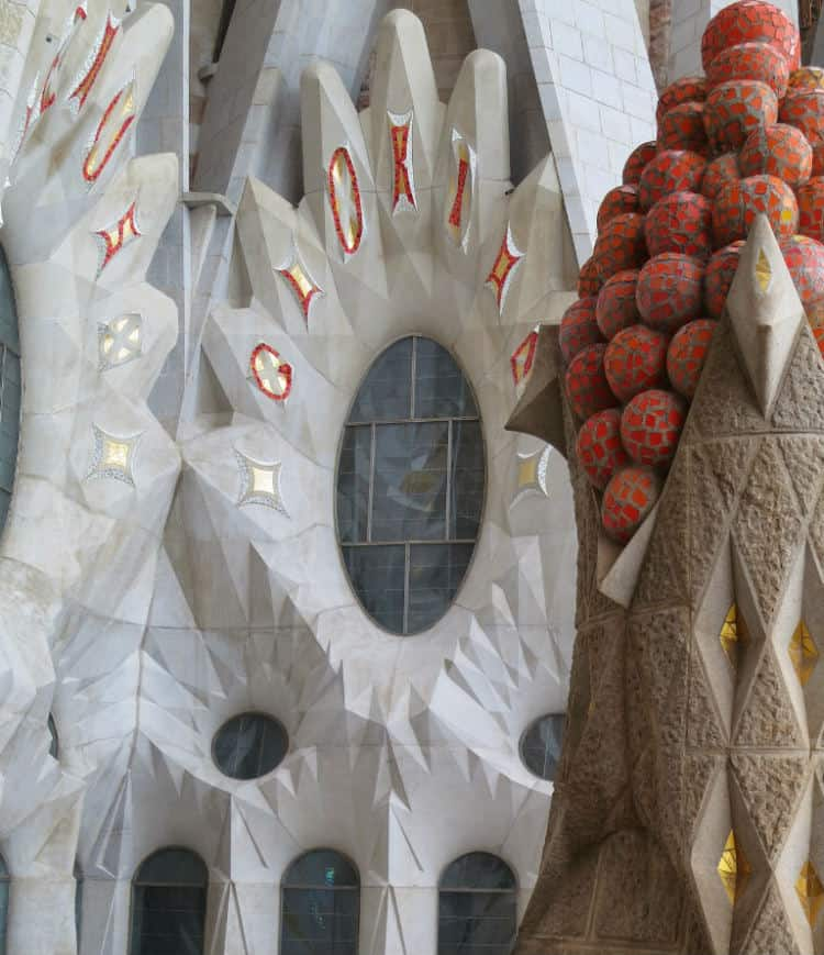 View of Fruit Topped Tower Nativity facade