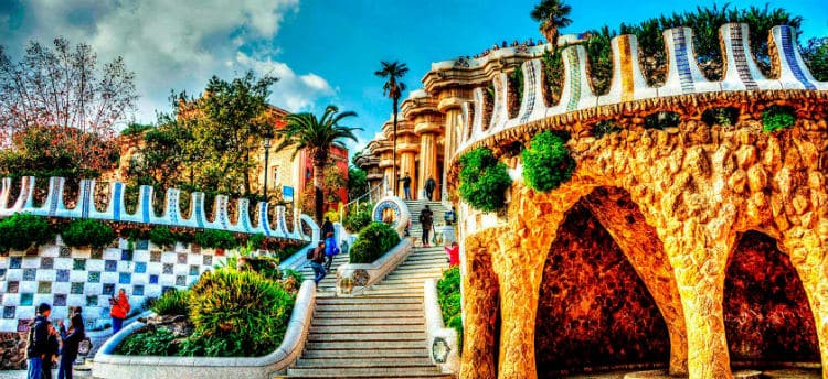 33 steps at Park Guell, Barcelona