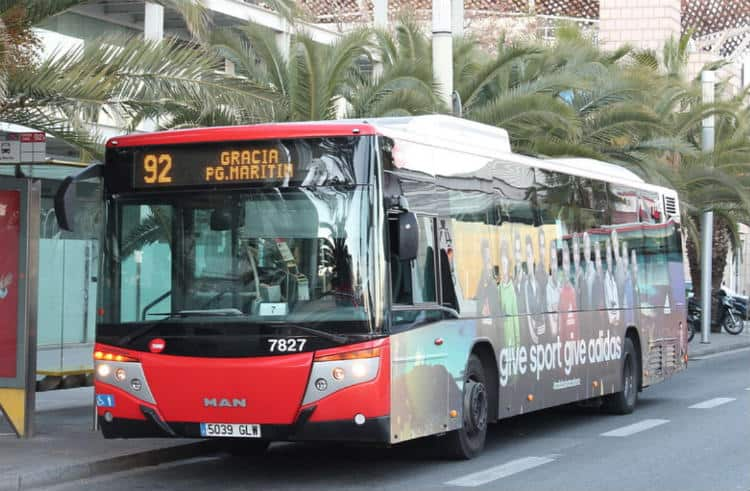 Bus number 92 to Park Guell