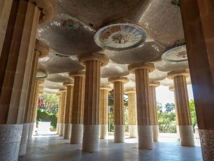 Hypostyle Room in Park Guell, Barcelona