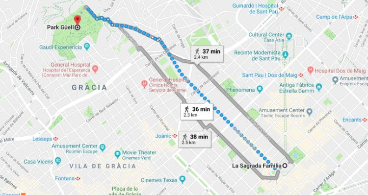 Map for Sagrada Familia to Park Guell by walk