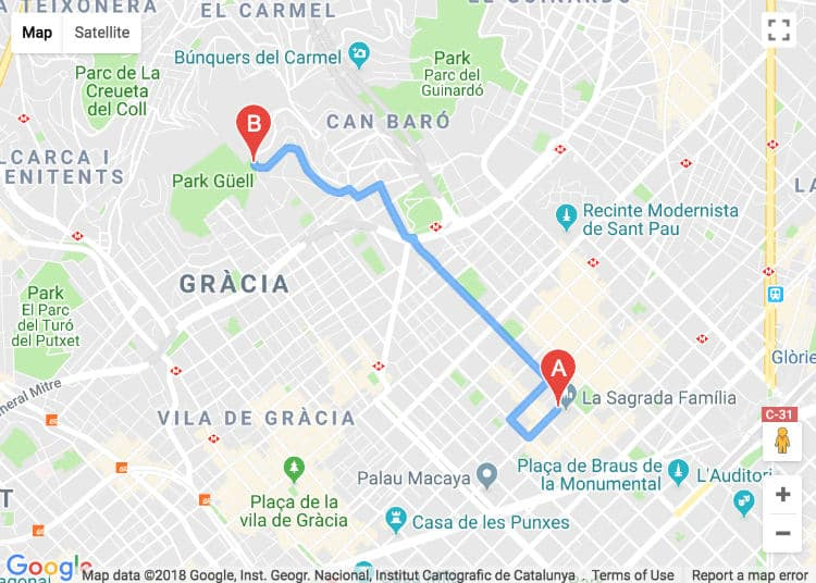 Map of Sagrada Familia to Park Guell by taxi