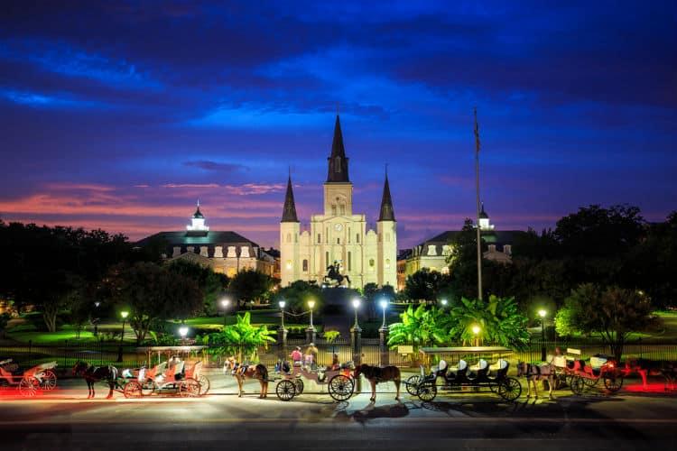 Romantic walk around Jackson Square, New Orleans