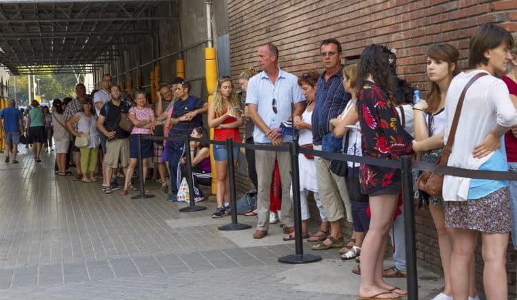 Crowd at ticket counter Sagrada Familia
