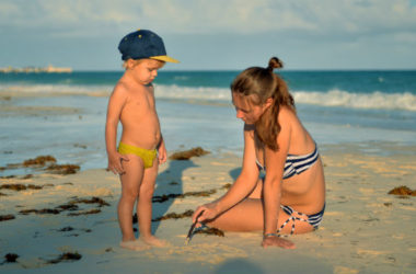 Kid in Cancun Beach