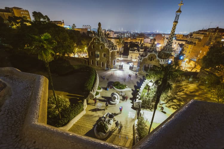 Park Guell in the dark