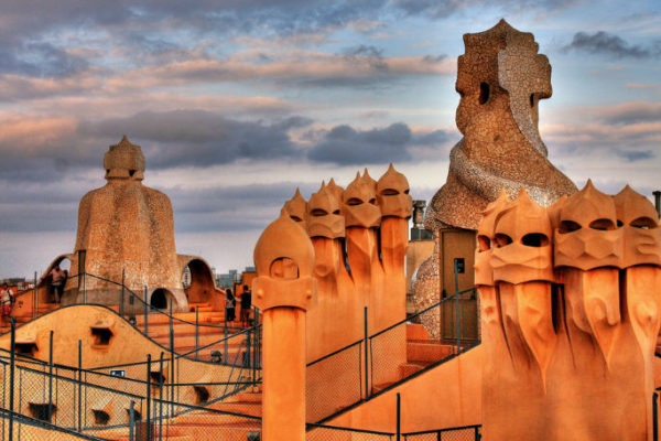 Sunset on Casa Mila's roof