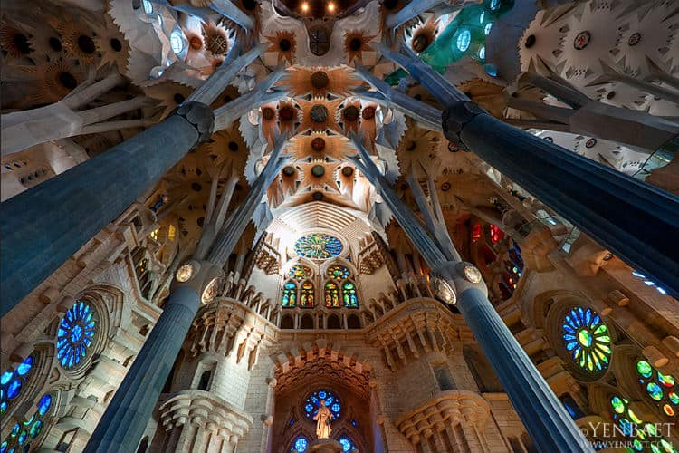Inside Sagrada Familia church