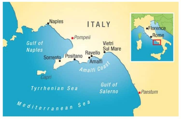 Map of Pompeii region