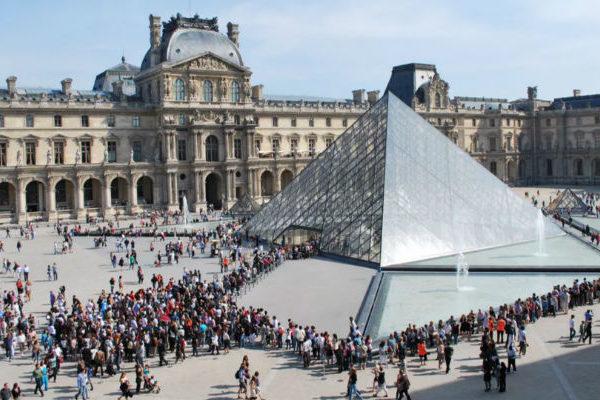 Pyramid entrance at Louvre