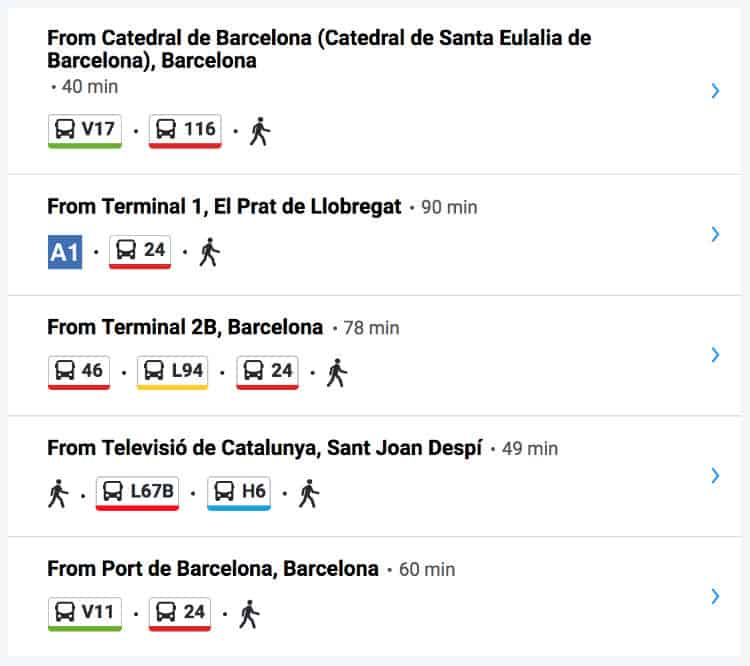 Bus routes to Park Guell